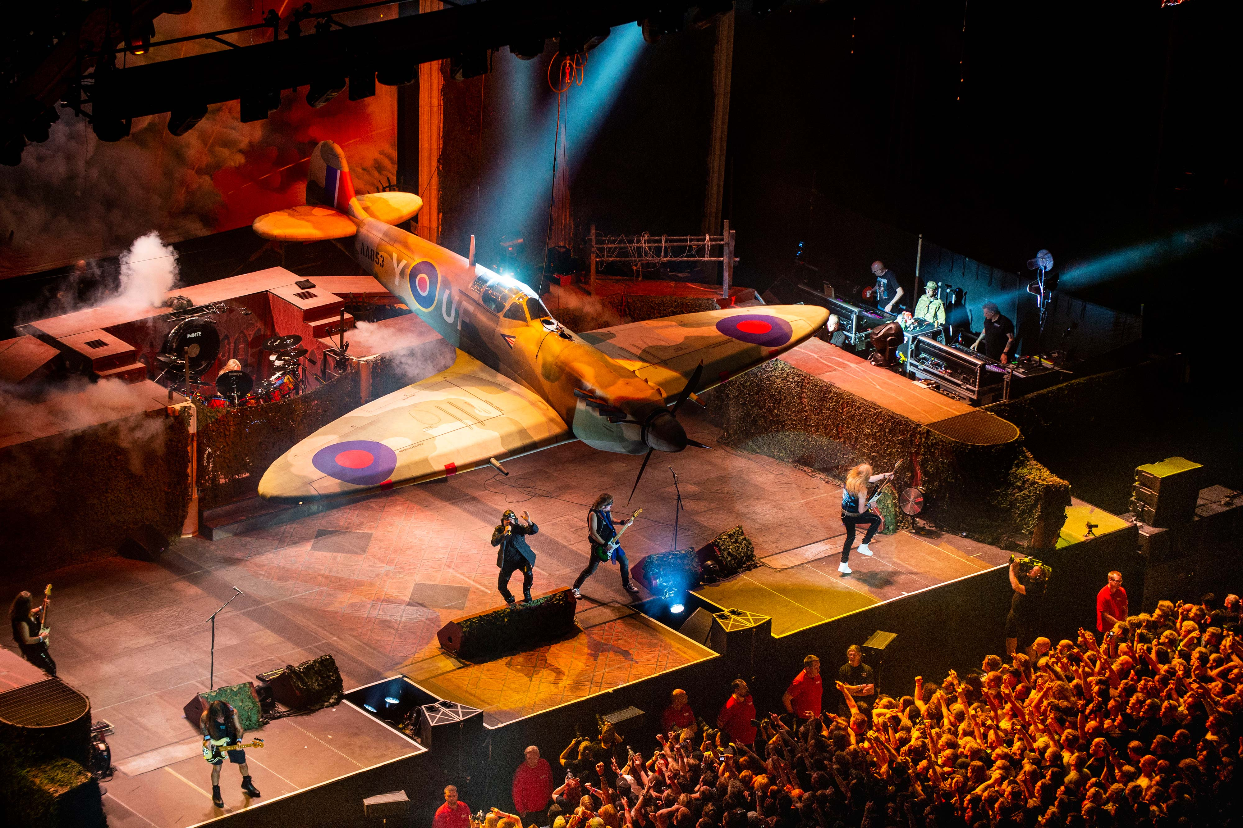 full-size inflatable spitfire above iron maiden on stage