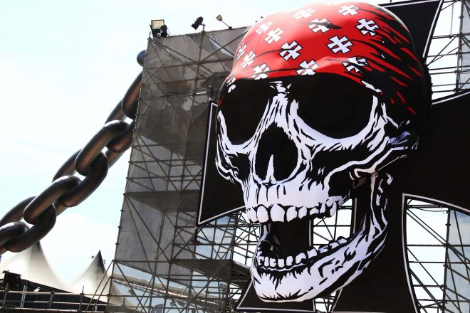 Giant inflatable skull and chain at the entrance of Hellfest