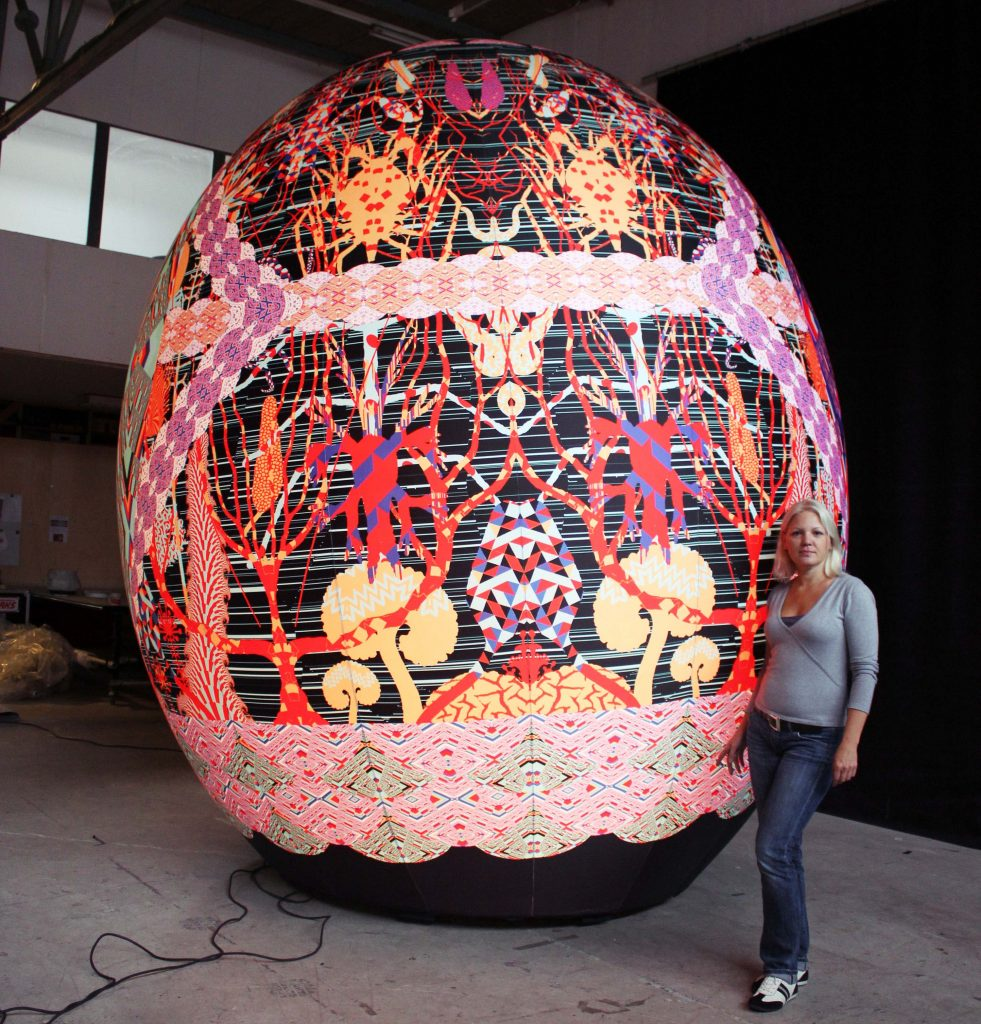 Large printed inflatable egg for artist/designer Kustaa Saski in Airworks Inflatables workspace