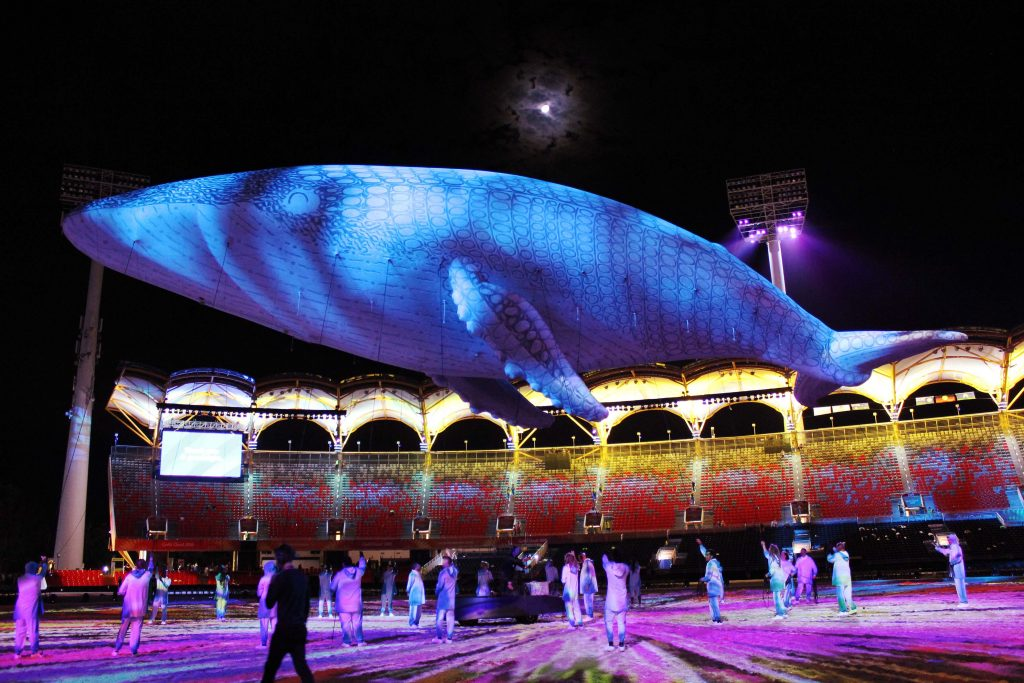 Test inflate for the giant inflatable blue whale Migaloo for the 2018 Commonwealth Games