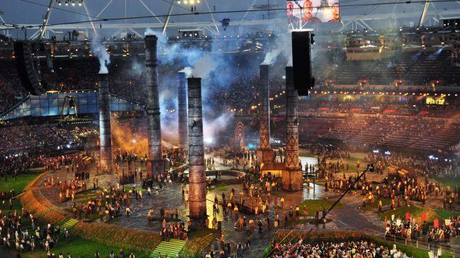 Giant industrial chimneys with smoke for London 2012 Olympic Games opening ceremony