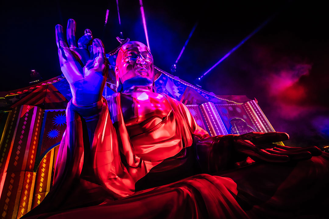 Giant inflatable Buddha at Nocturnal Wonderland Festival
