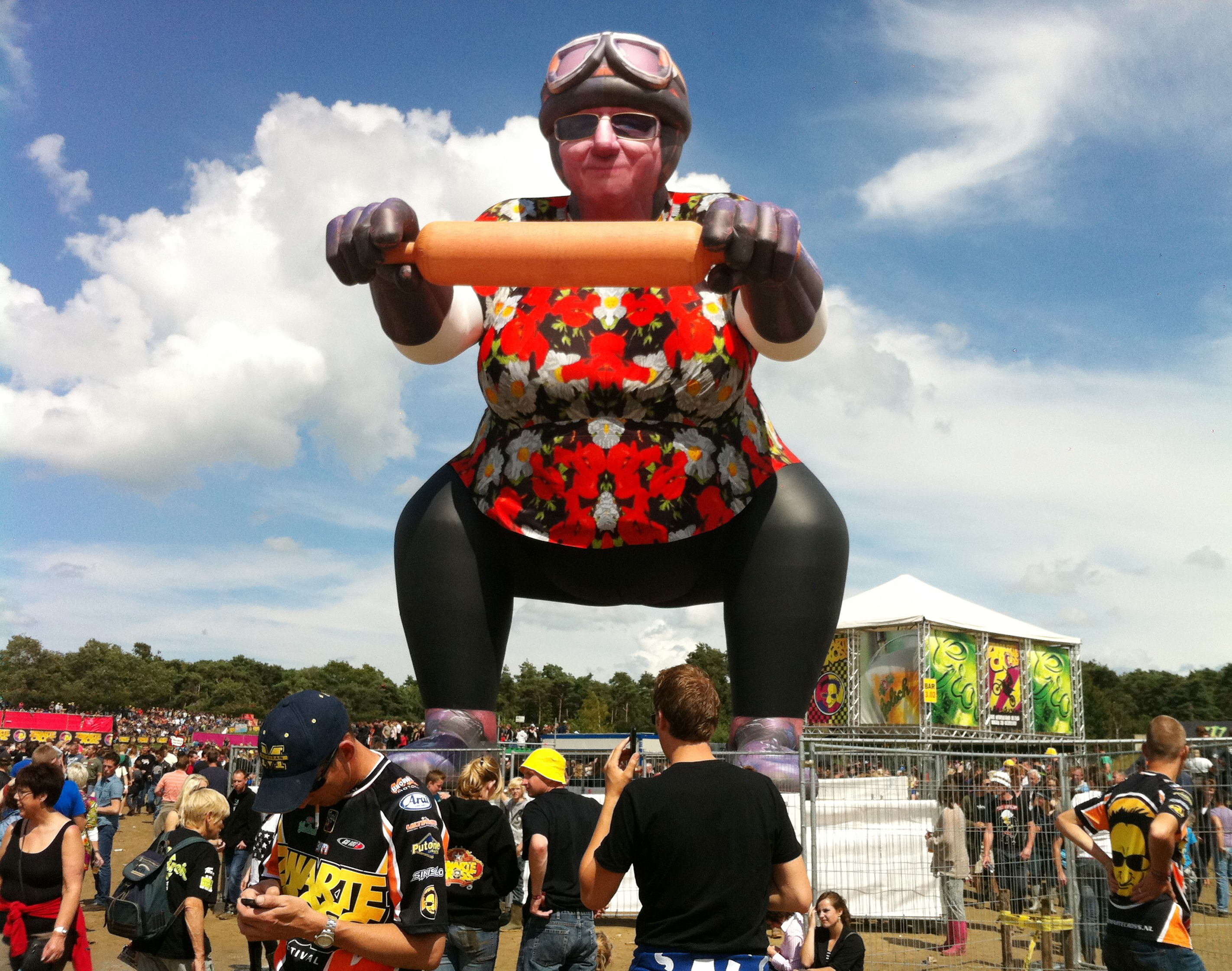 Giant inflatable Tante Rikie for Zwarte Cross music and motorcycle festival