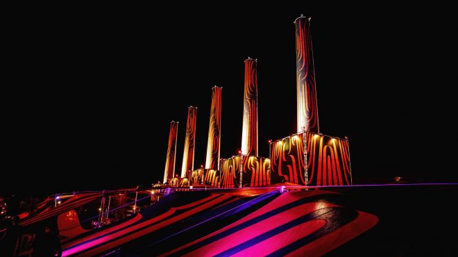 5 orange and black inflatable towers. Lowlands festival
